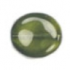 Glass Bead Flat 20/18mm Green Wavy Oval - Strung